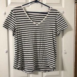$5 for $25 short black and white striped top